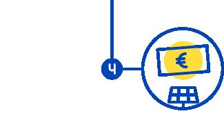 Étape 4, icone d'un billet généré par un panneau solaire